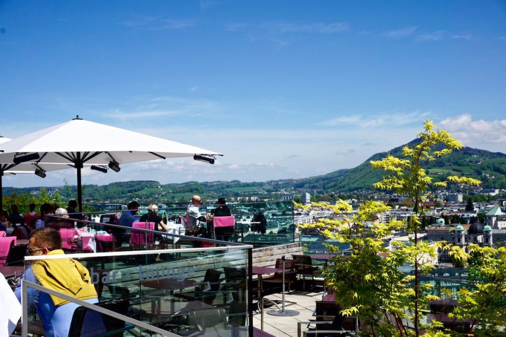 Lunch with a view at M32 Restaurant at the Museum of Modern Art, Salzburg, Austria