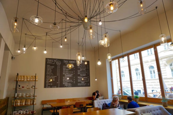 Love the hanging lights at at Ducks Coffee Shop in Graz