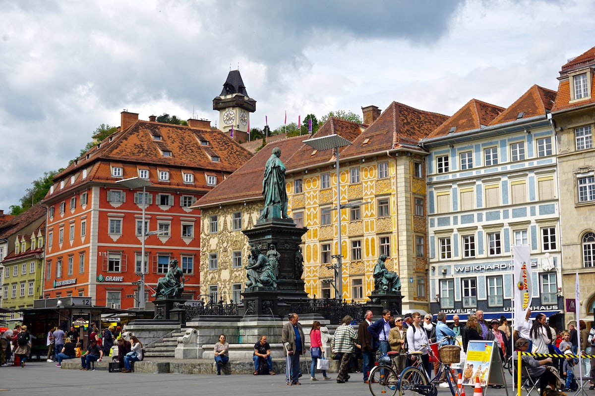 Colourful buildings in the main square in Graz