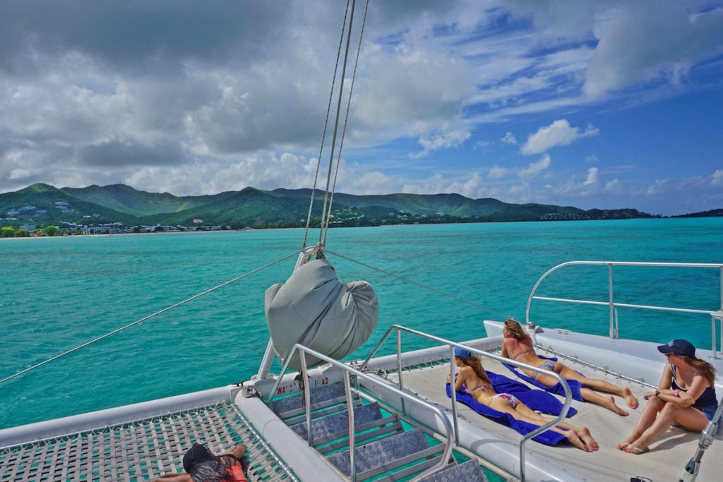 Enjoying a catamaran cruise in Antigua