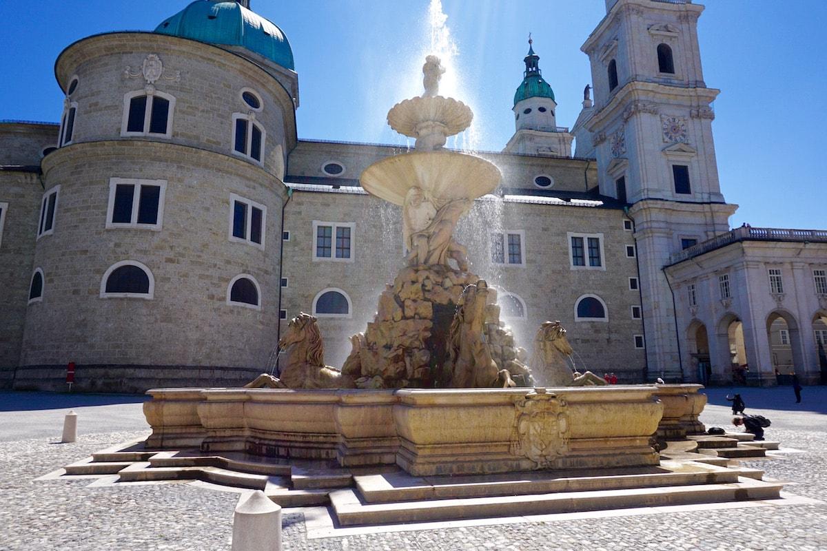 Impressive fountains in Residenzplatz Square, Salzburg, Austria