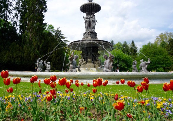 Fountain in Burggarten Gardens in Graz, Austria