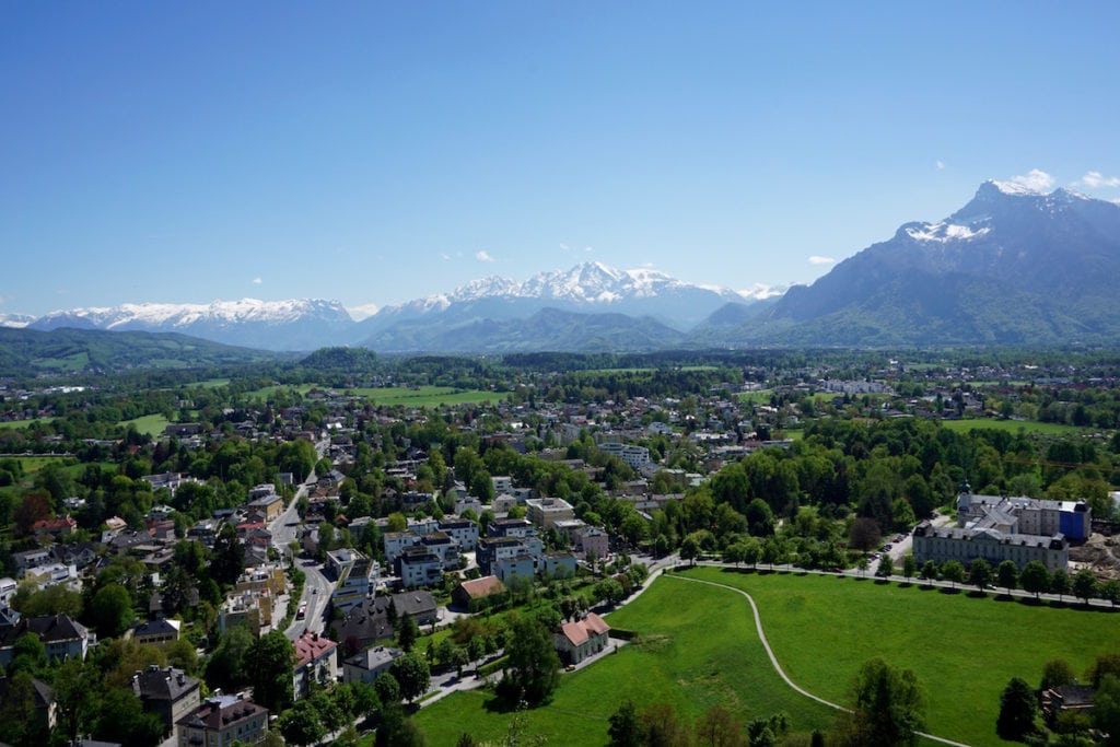 Views of snowy mountains from Hohensalzburg Fortress, Salzburg, Austria