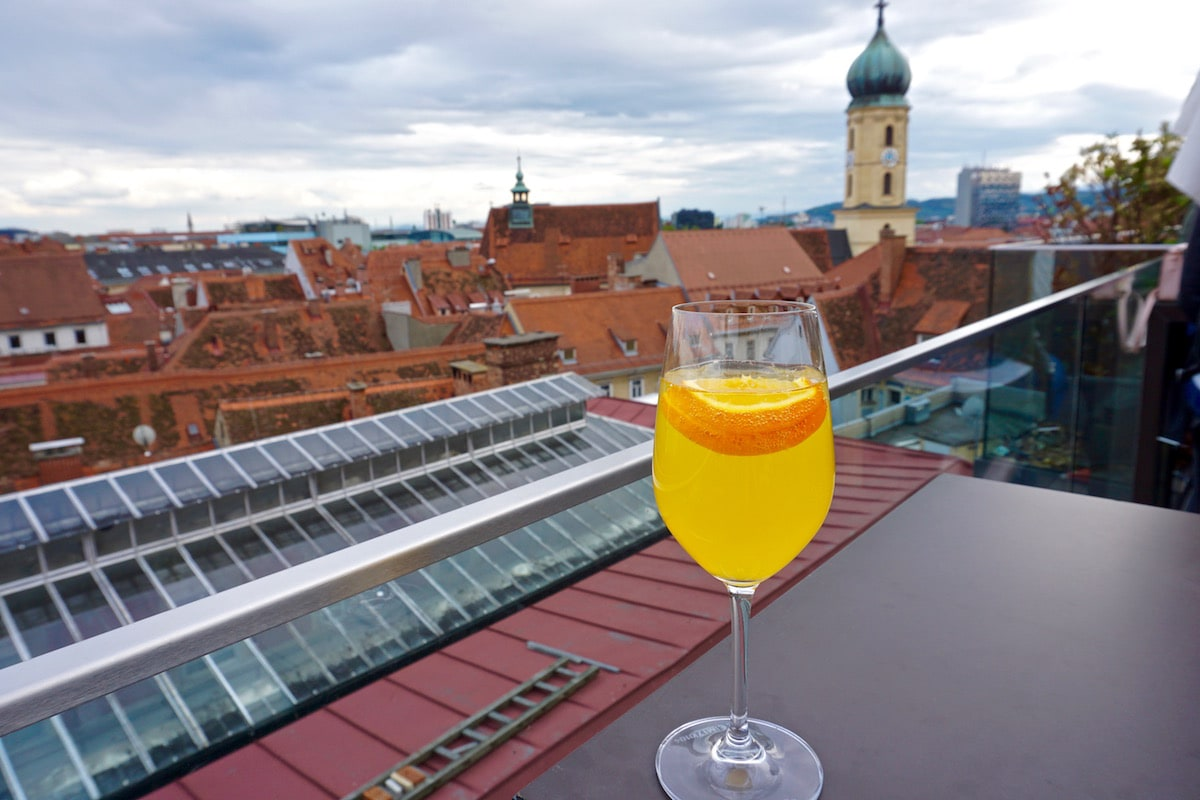 Cocktail time on the rooftop at Kastner and Ohler, Graz