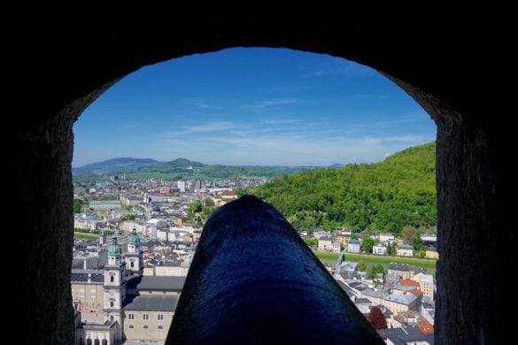 Looking through the cannon at Hohensalzburg Fortress, Salzburg, Austria