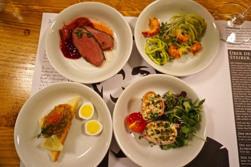 Styrian tapas at Der Steirer Restaurant in Graz, Austria