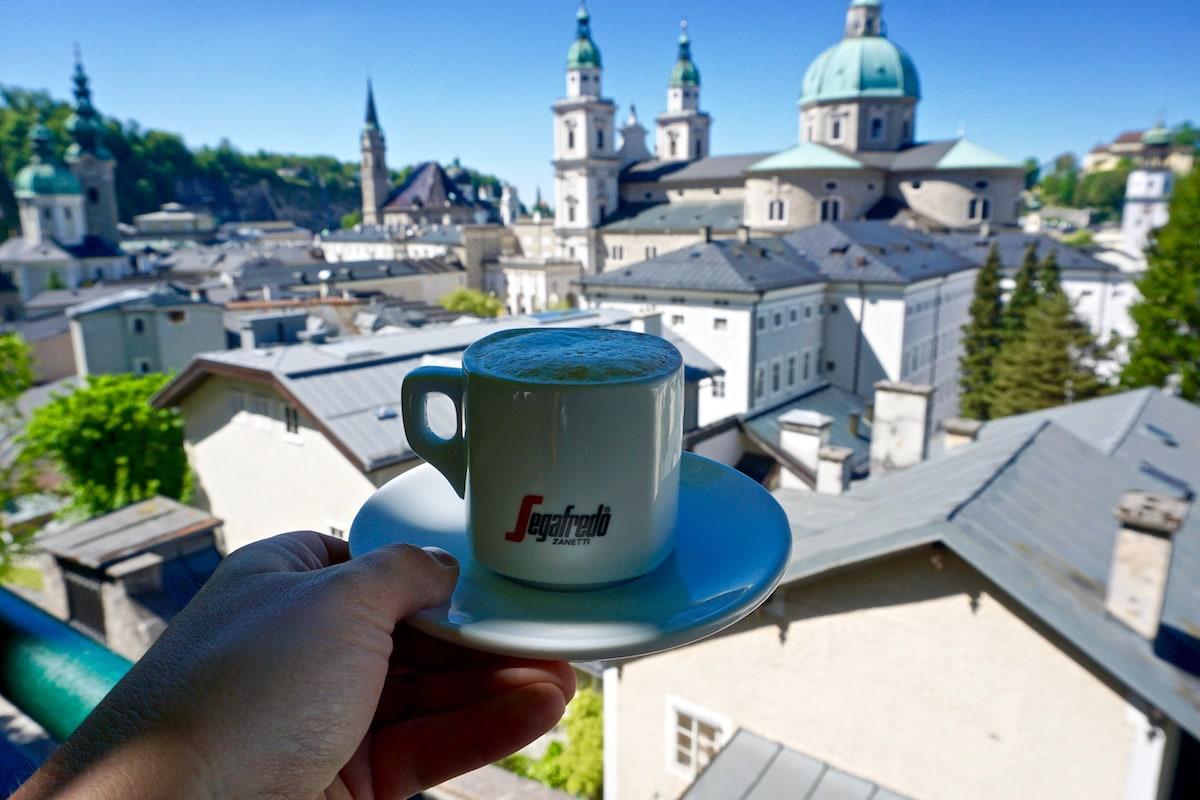 Coffee with a view at Steinterasse Restaurant and Bar in Salzburg Austria