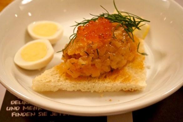 Salmon tartar at Der Steirer Restaurant in Graz, Austria