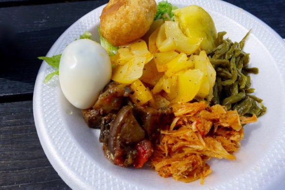 Traditional Antiguan breakfast at Shirley Heights