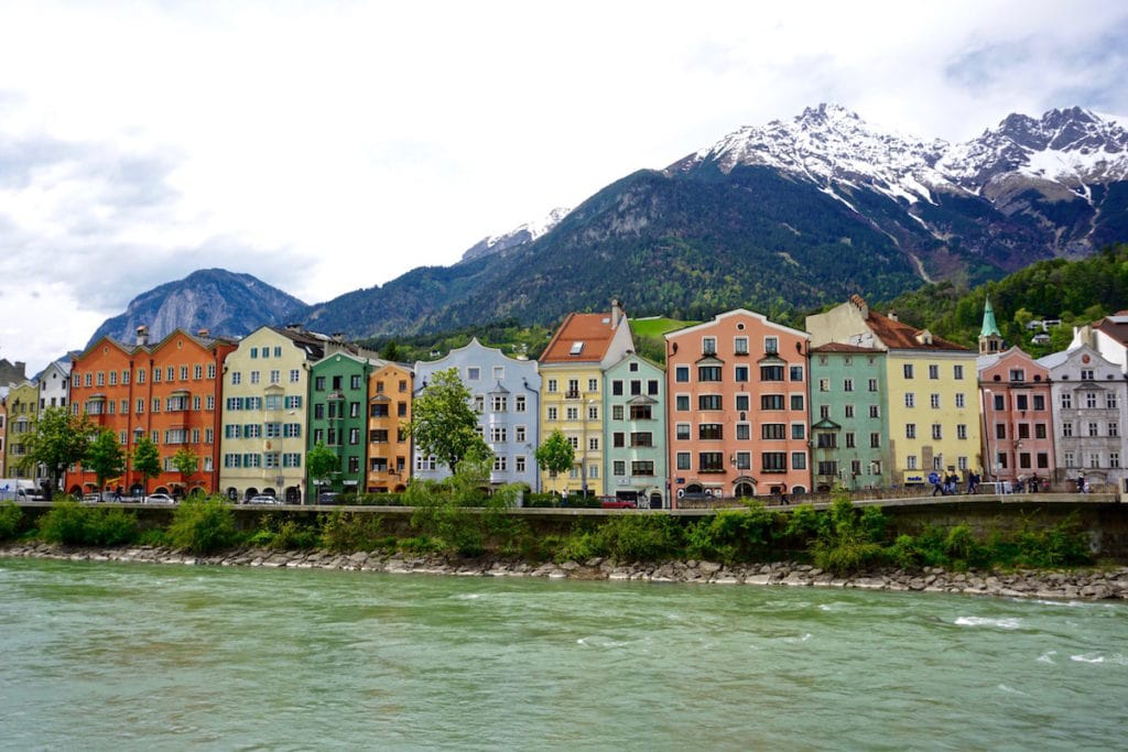 Colourful houses on the river in Innsbruck in Austria