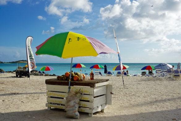 Colourful beach umbreallas in Antigua