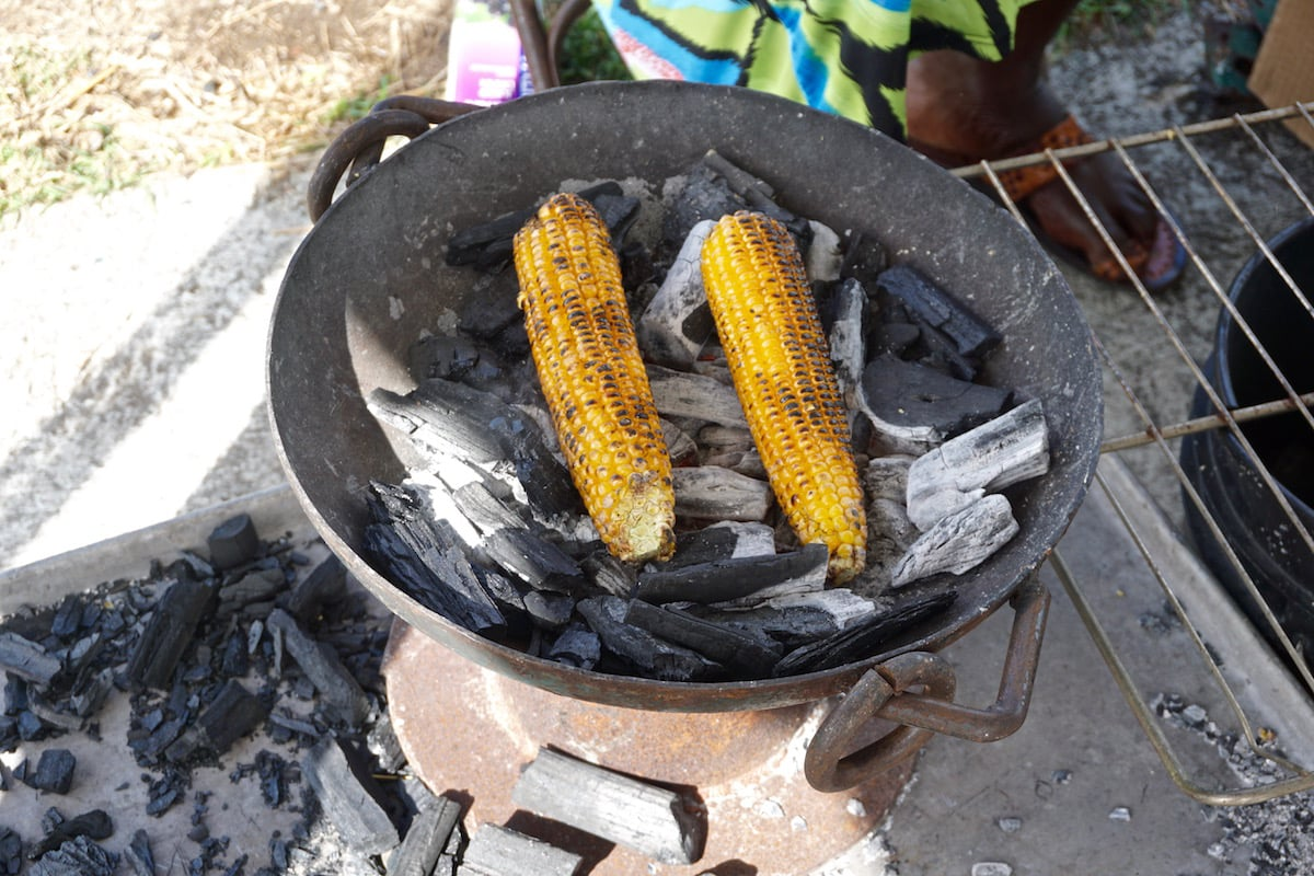 Grilled corn in Antigua