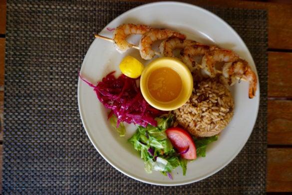 Grilled shrimp at Dennis Beach Bar