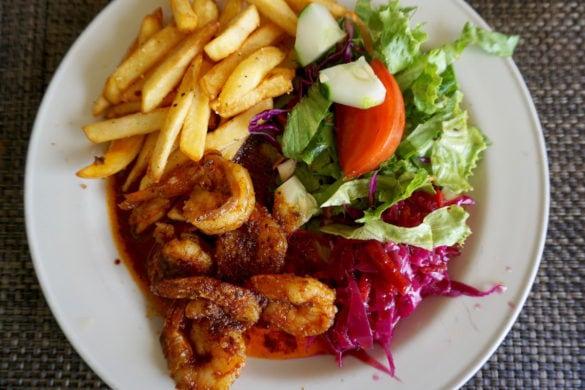 Hot and spicy shrimp at Dennis Beach Bar