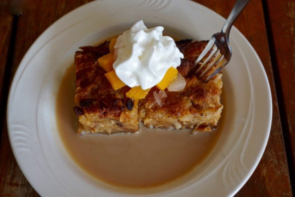Bread and butter pudding at Dennis Beach Bar