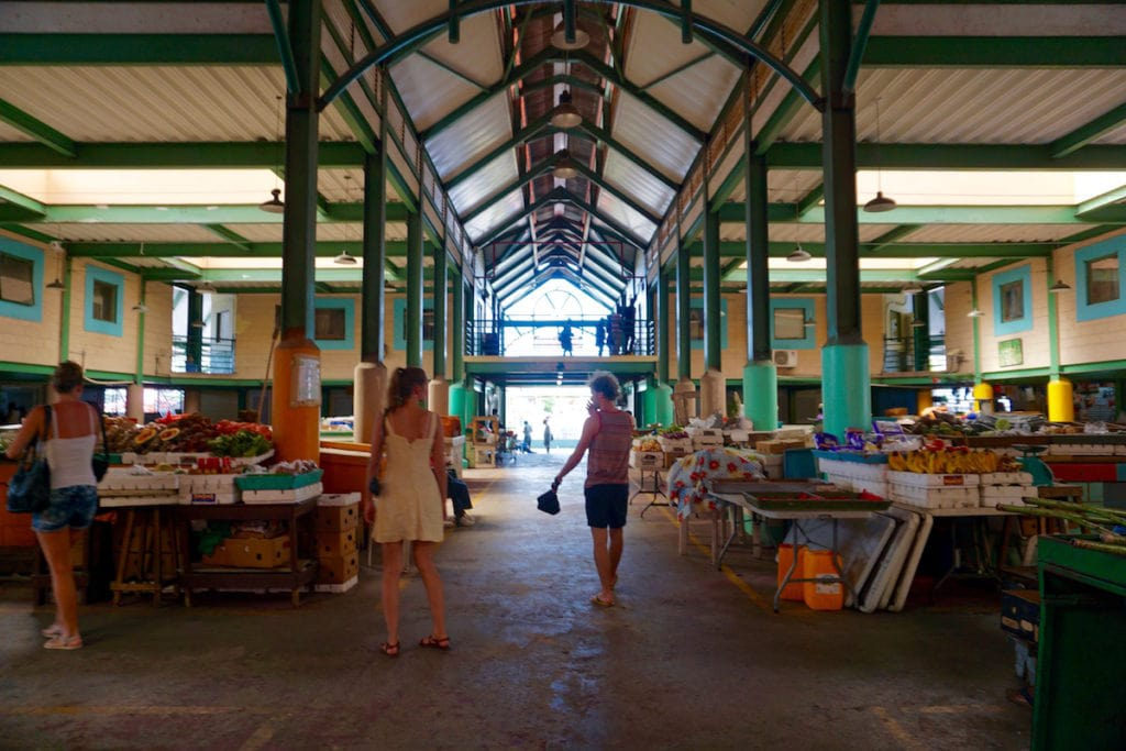 Exploring the market in St John's, Antigua