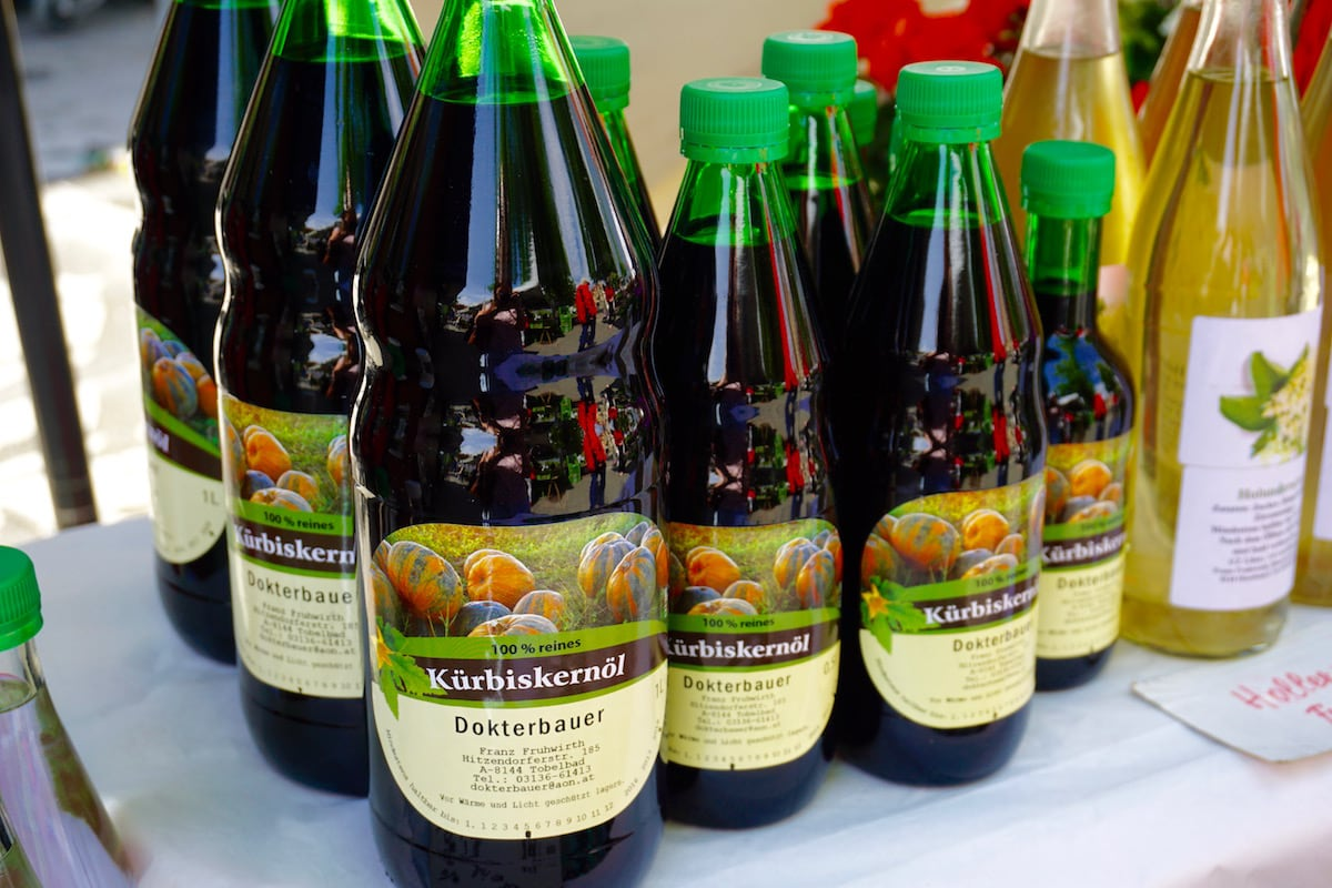 Green pumpkin seed oil for sale in Graz market
