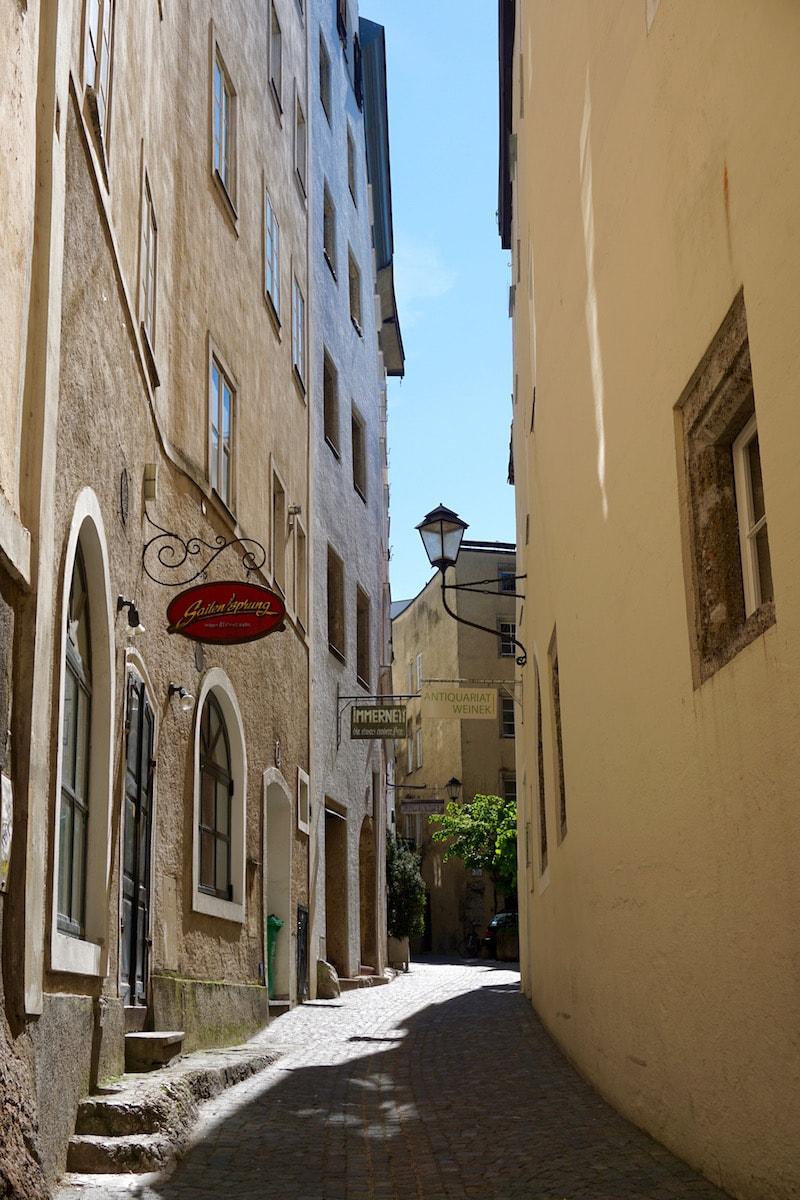 The cool street of Steinestrasse in Salzburg Austria