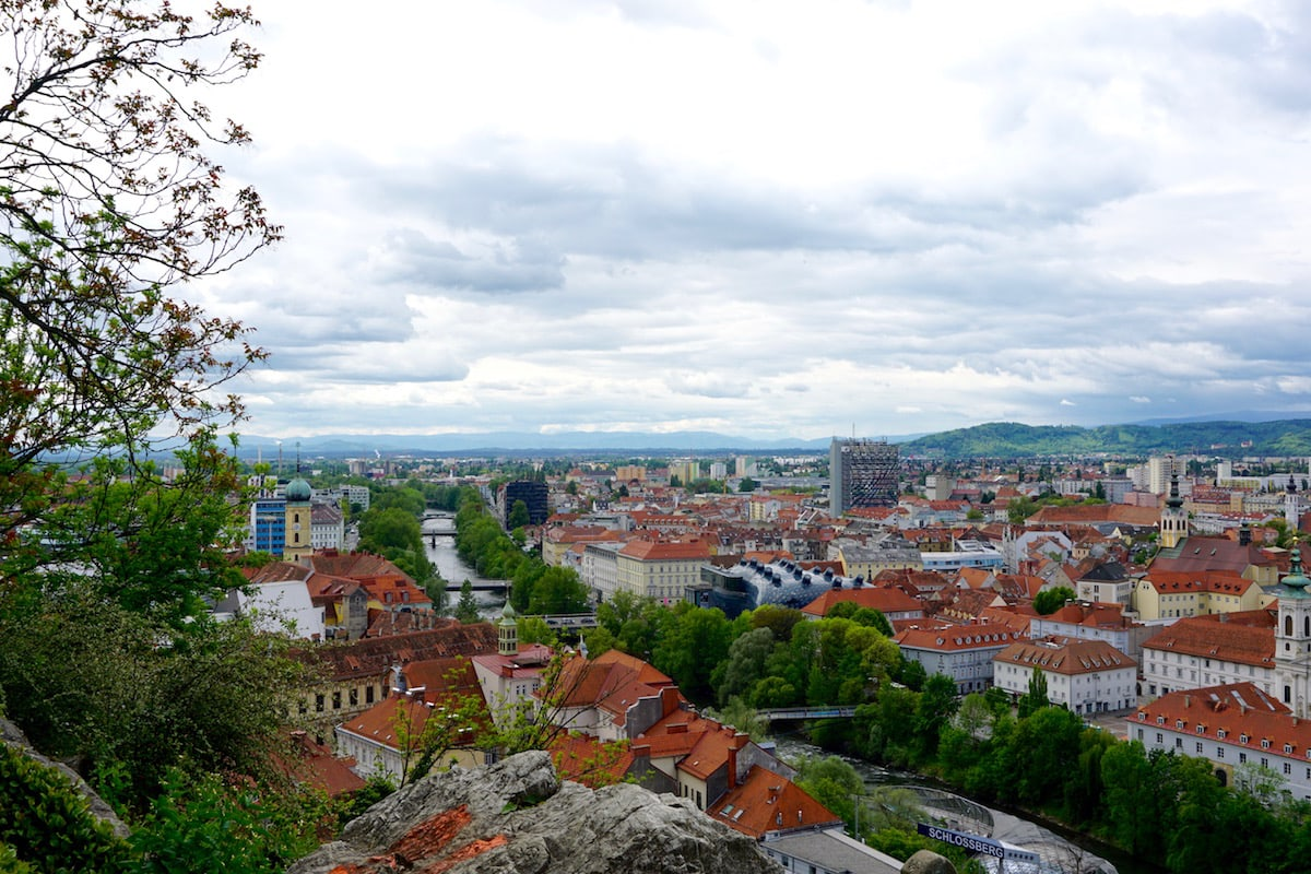 View of Graz climbing up Schlossberg
