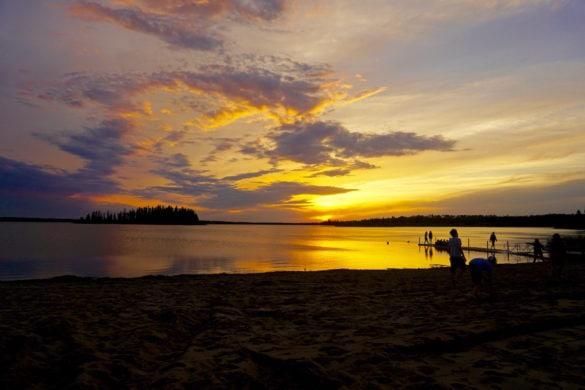 Sunset over Lake Astotin in Elk Island National Park, Canada