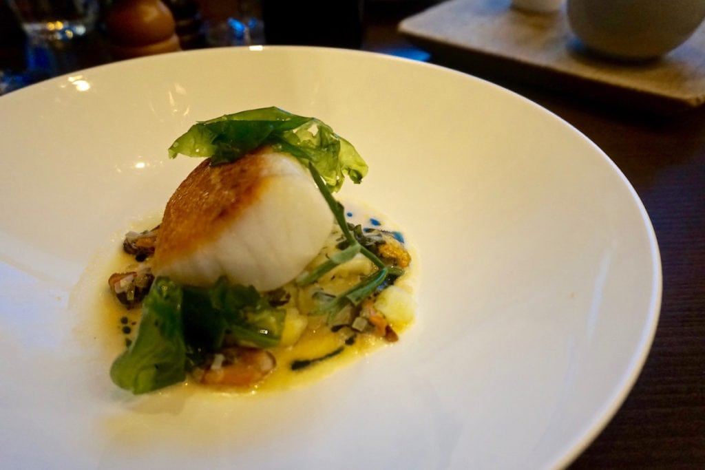 Roast cod main course at Club Zetter Wine Room & Kitchen, London