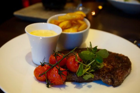 Steak and chips at Club Zetter Wine Room & Kitchen, London