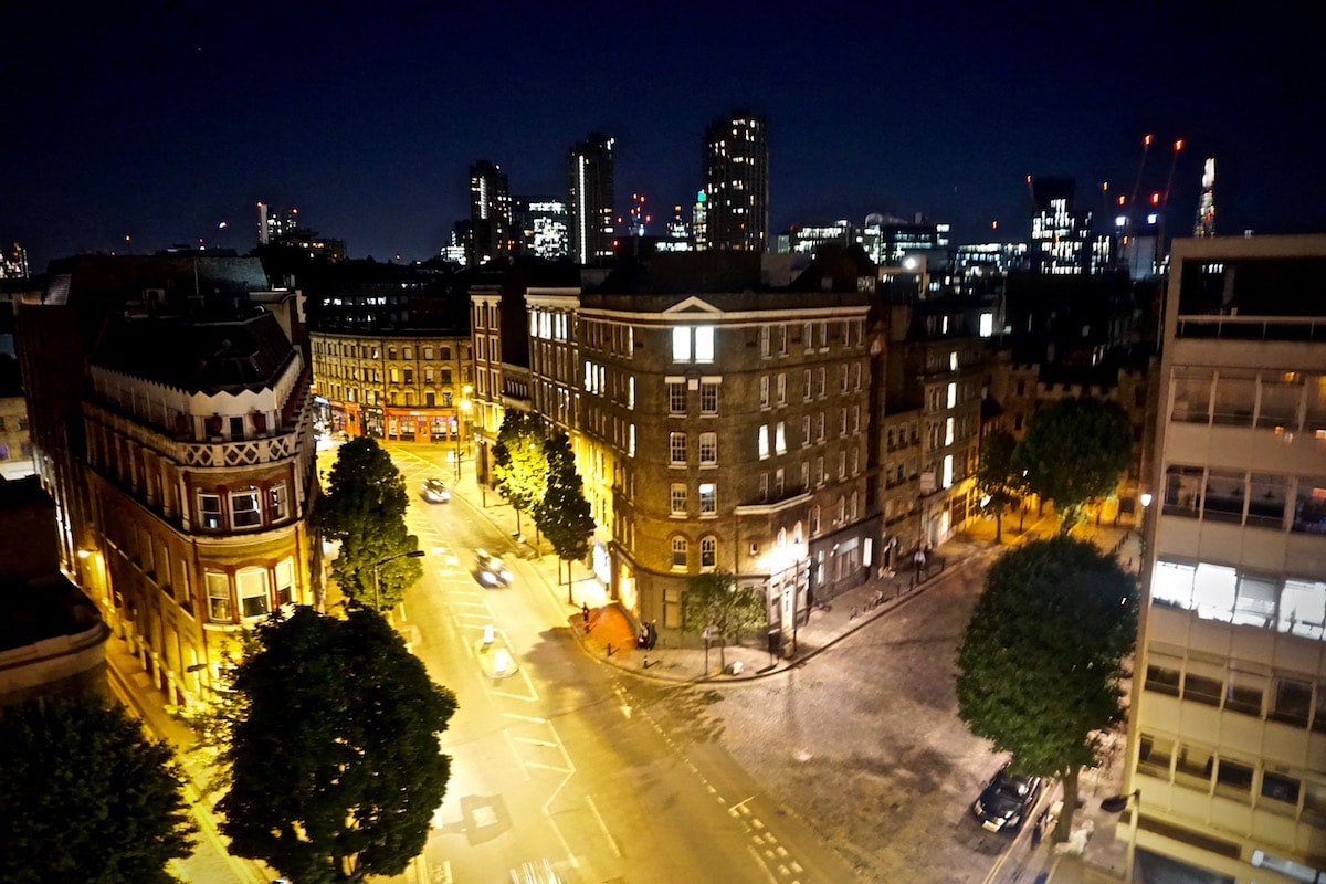 View from our terrace at night at The Zetter Hotel, London