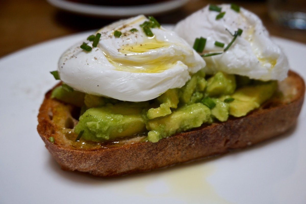 Smashed avocado with poached eggs at The Zetter Hotel, London