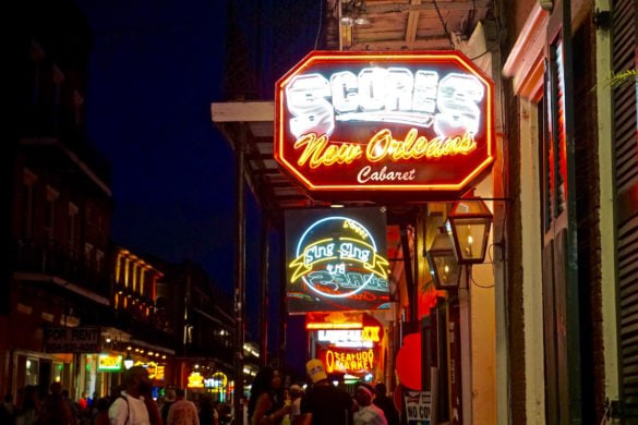 The bright lights of Bourbon Street, New Orleans at night