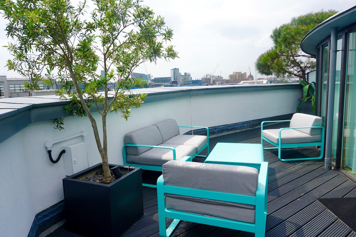 Our terrace at The Zetter Hotel, London