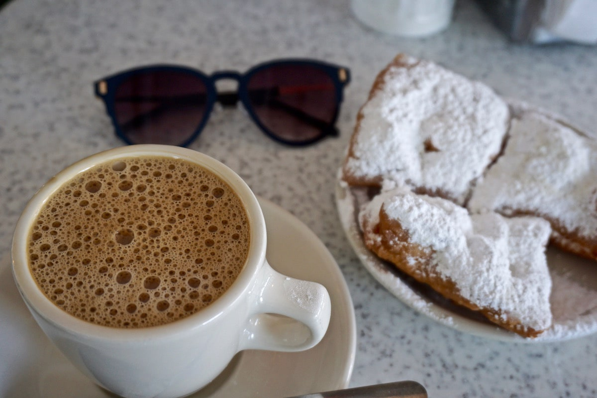 Coffee and beignets at Cafe Du Monde, New Orleans