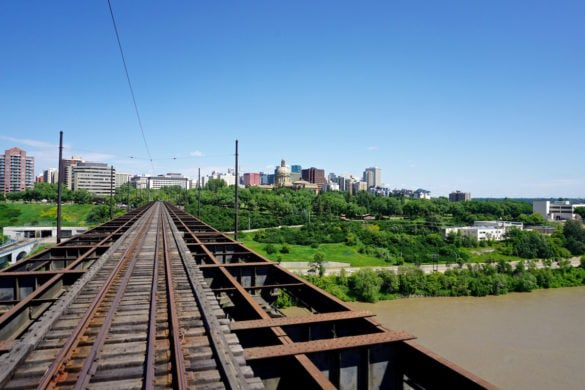 Views from the streetcar in Edmonton, Canada