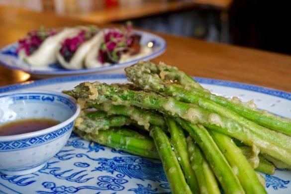 Tempura asparagus at Baijiu Restaurant, Edmonton