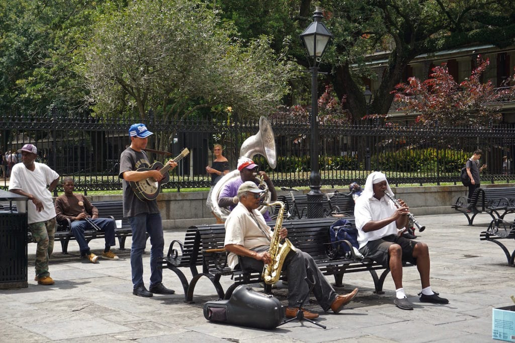 Jazz musicians performing in Jackson Square, New Orleans