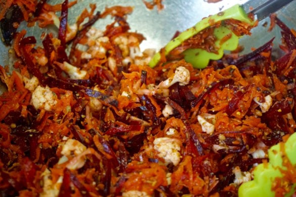 Close of the carrot and beetroot achar at L'atelier Des Chefs, St Paul's, London