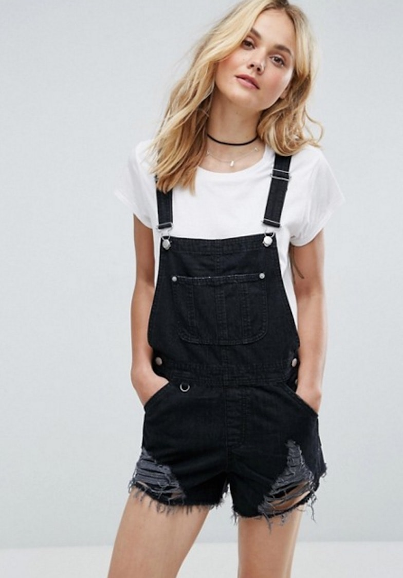 9c3e12e7d48 ASOS Denim Shorts Dungaree in Washed Black With Raw Hem