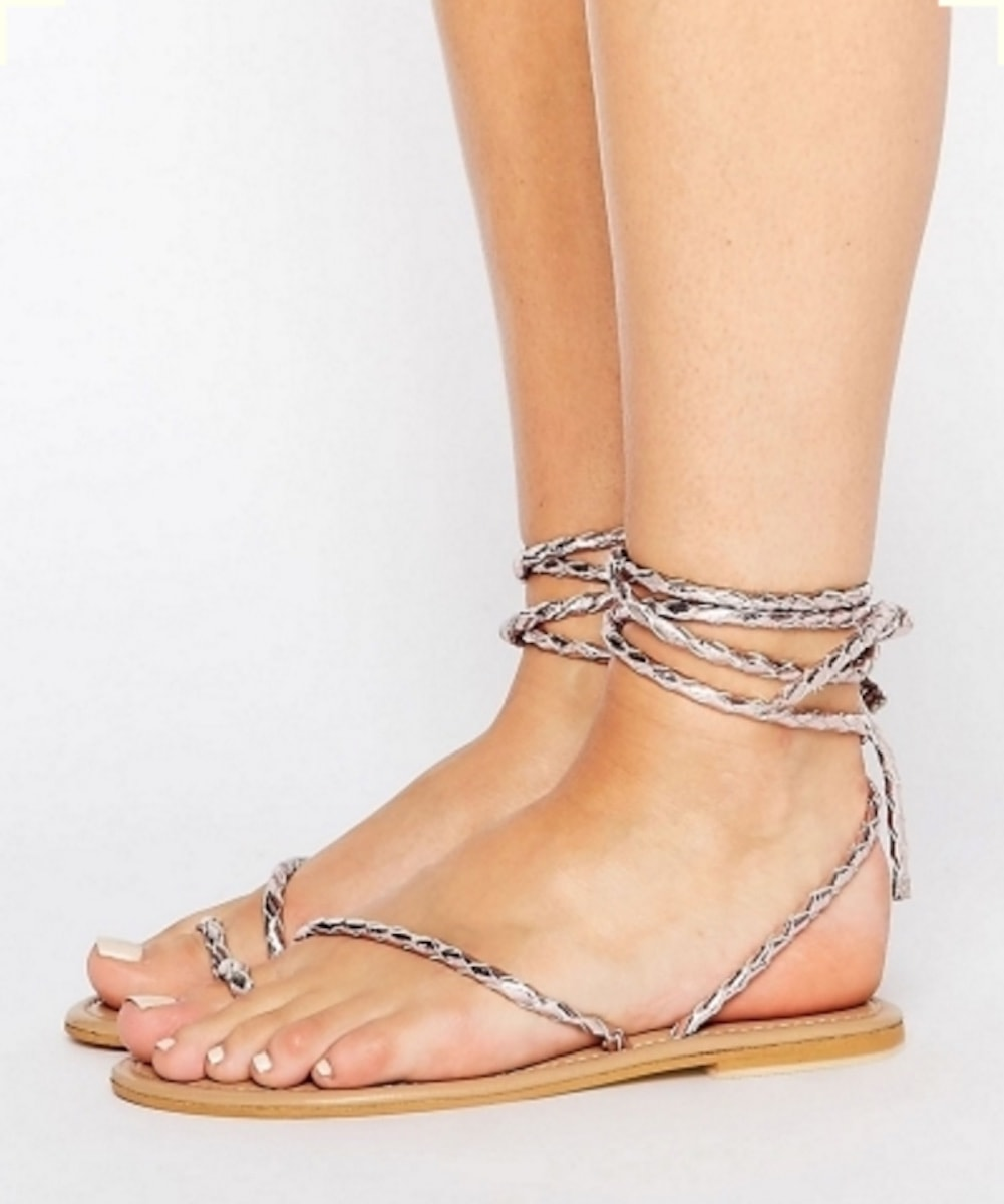 ASOS FIRE FLY Wide Fit Leather Lace Up Flat Sandals