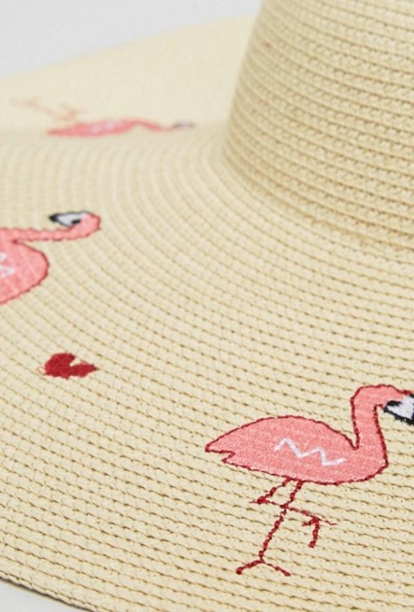 ASOS Flamingo & Heart Oversized Floppy Straw Hat