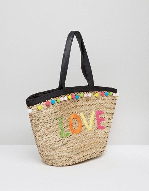 Floozie By Frost French Pom Pom Basket Beach Bag