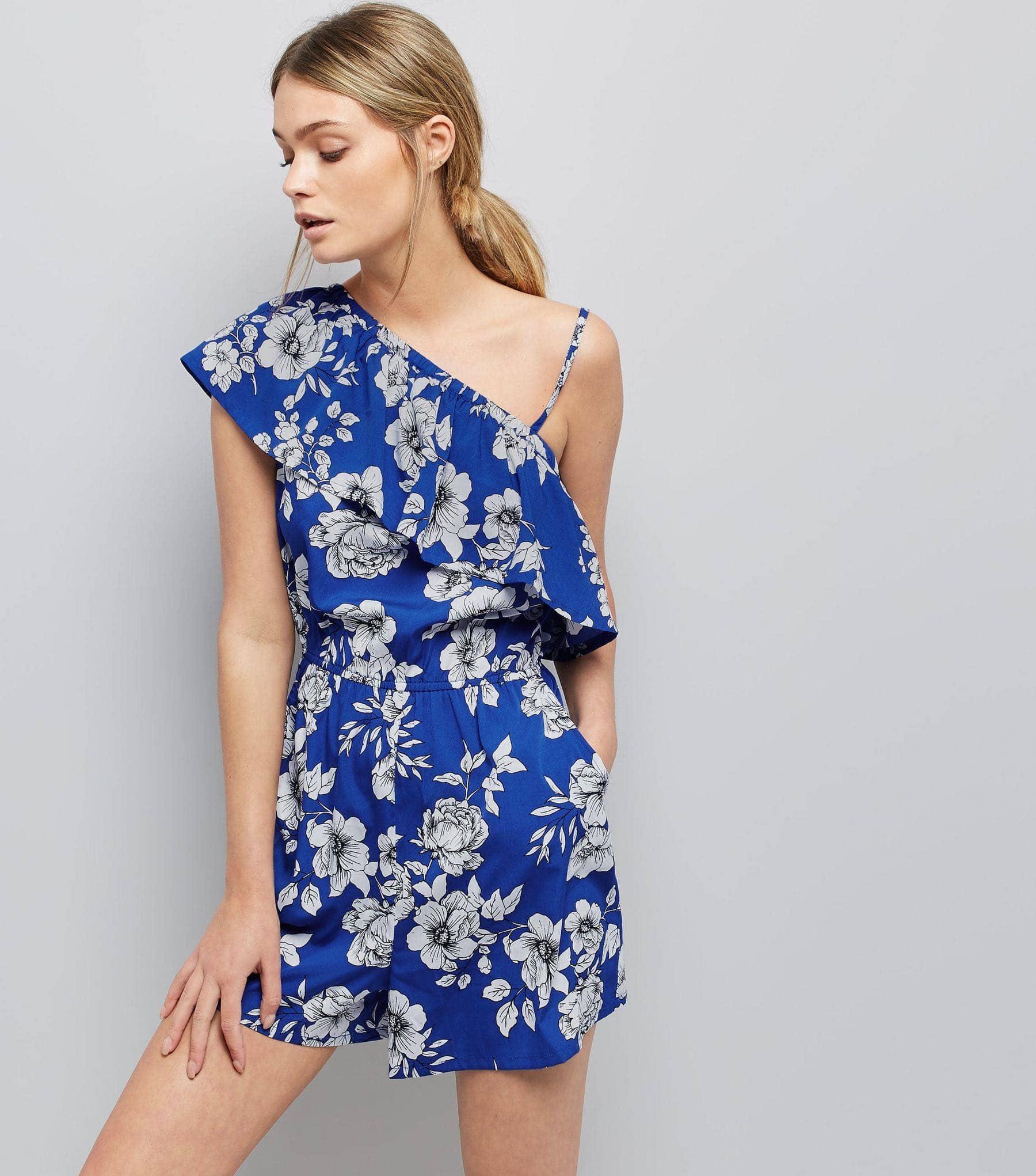 New Look Blue Floral Print Asymmetric Frill Trim Playsuit
