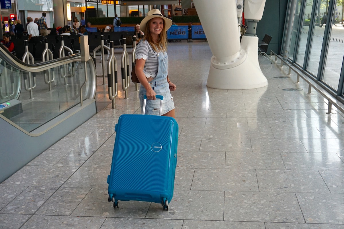 At the airport with my American Tourister Soundbox Suitcase