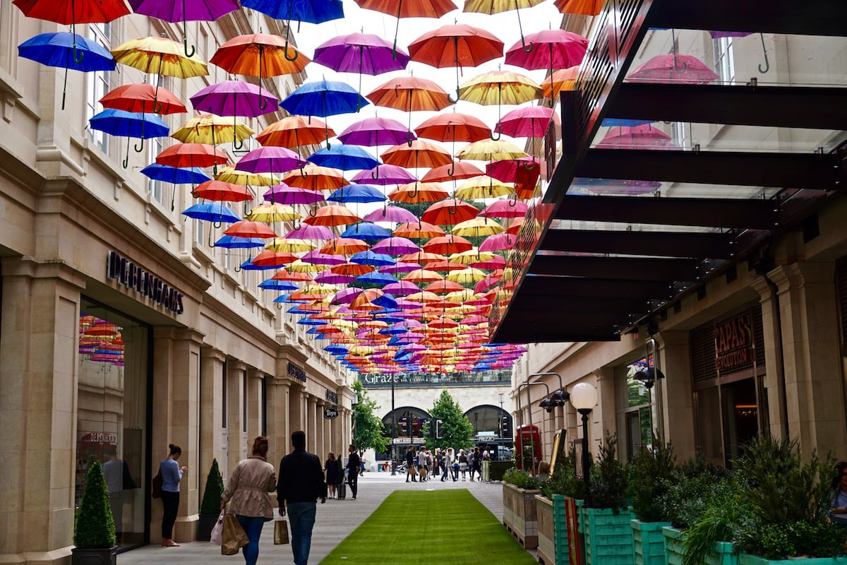 Colourful umbrellas around SouhGate, Bath