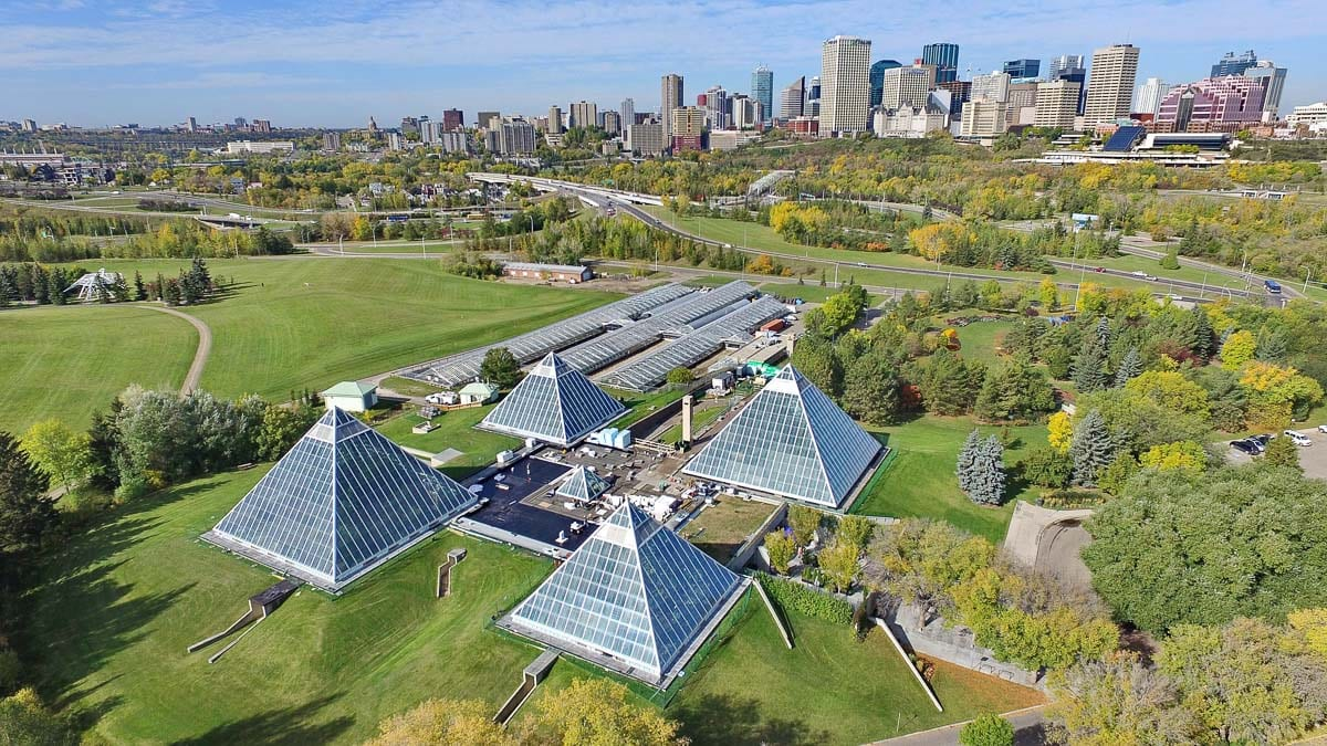 Overlooking the Muttart Conservatory in Edmonton, Canada