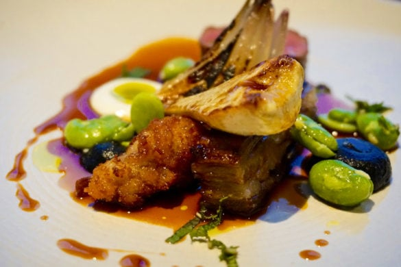 Hogget with burnt aubergine at Cottage in the Wood
