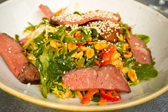 Rare beef salad at The Lakes Distillery