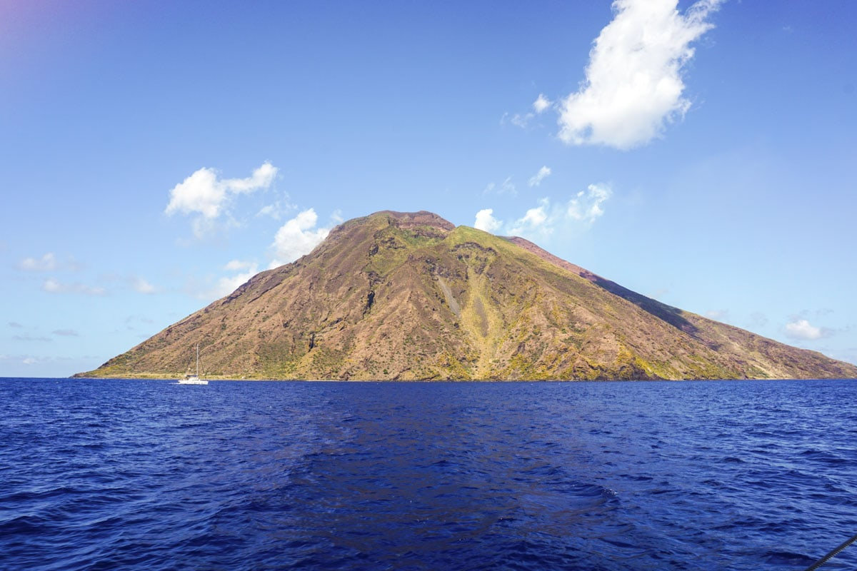 The island of Stromboli in Sicily