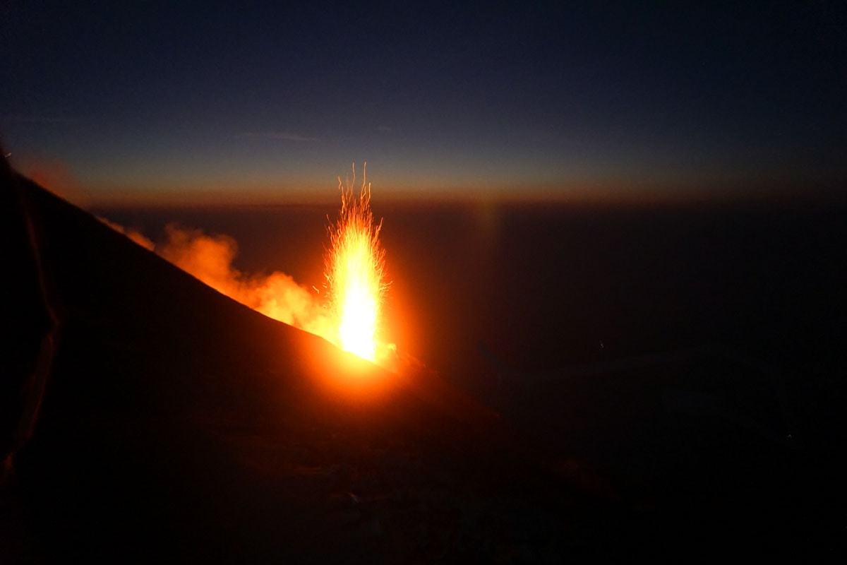 Stromboli Volcano erupting in Sicily