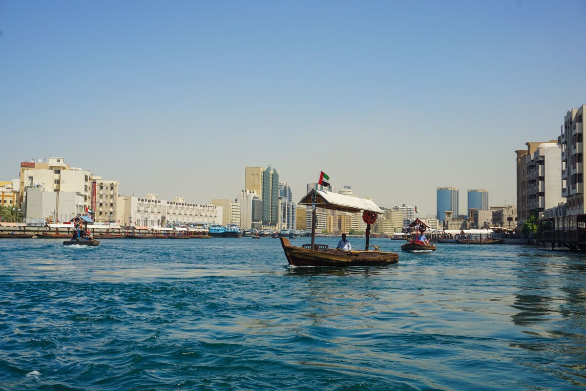 Traditional abra boats on Dubai Creek