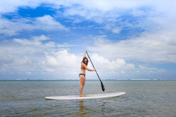 Stand up paddle boarding at Heritage Le Telfair, Mauritius