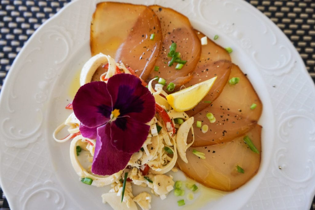 Smoked marlin and palm heart salad I made at Heritage Le Telfair, Mauritius